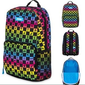 Fortnight rainbow checkerboard backpack